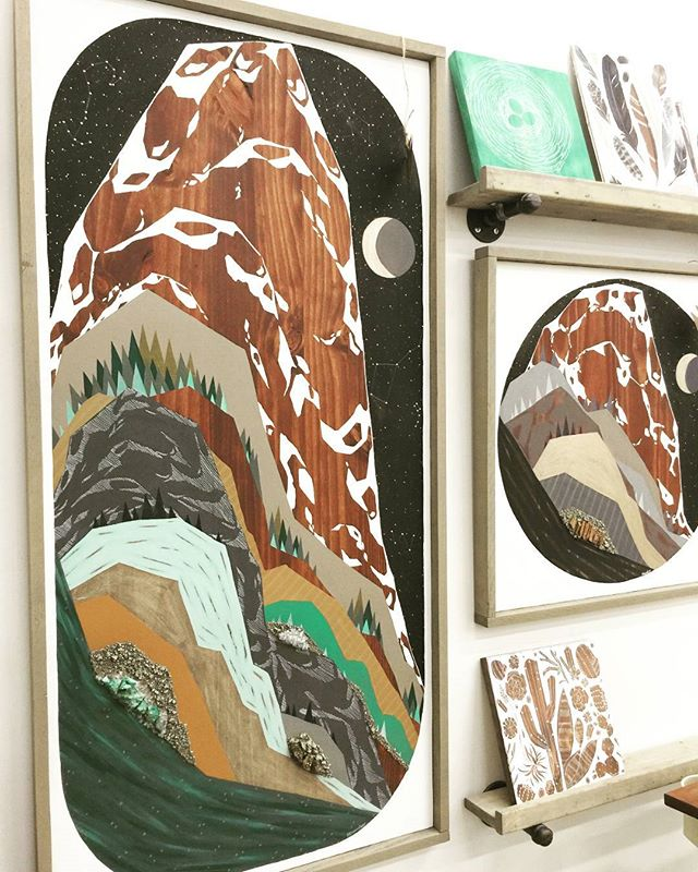 Mustard and Mint Mountains. This one's a giant! 4' x 2' on solid wood. Acrylic, ink, colored pencil, brass, pyrite, quartz, & chrysolla.