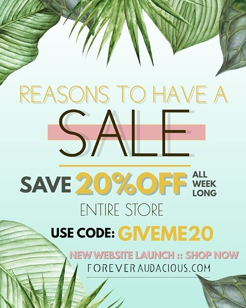 SAVE 20%OFF  ENTIRE STORE  ALL WEEK LONG  Enter Code: GIVEME20 at Checkout  www.foreveraudacious.com . . . #foreveraudacious #womenuer #creatress #craftqueen #culture #photography #art #fashion #style #photooftheday #instagood #explore #adventure #design #picoftheday #blackownedbusiness #beauty #blackfashion  #boutiqueshopping #womeninbusiness  #shoplocal #handmade #slayallday #supplyanddesign #shop #supportblackowned #instasale