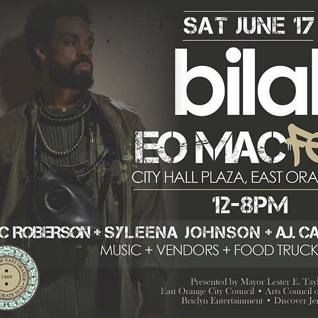 EVENT ALERT || EAST ORANGE COME ON OUT ☀️🎨🎤 SATURDAY,  JUNE 17TH  EAST ORANGE MAC FEST  @eastorangemacfest  WE ARE LIGHTING UP THE CITY! #EastOrange TO BE EXACT:) 2 days away!!! The festivalwill feature headline performances by BILAL @bilalmusic , ERIC ROBERSON @erro44 , and SYLEENA JOHNSON hosted by #AJCalloway ( Bet's 106&Park)  @Djsiennachanel , and @DjNugget & MUCH MORE  TWO STAGES  JAM PACKED WITH AMAZING TALENT FROM NEAR & FAR • FOOD TRUCKS • VENDORS •MONTCLAIR ART MUSEUM  ART TRUCK • JUNETEENTH SHOECASE • MINI CAR SHOW • PINK DRAGON POP UP •BEER & WINE GARDEN •A VARIETY OF DELECTABLE EATS  THIS FESTIVAL  IS FREE & OPEN TO THE PUBLIC  WE DO HOPE YOU COME OUT BRING A FRIEND... A LAWN CHAIR Or TWO & GOOD VIBES!! LOCATION: SPANS TWO BLOCKS ALONG EAST ORANGE CITY HALL PLAZA & NORTH ARLINGTON AVE.  TELL YA FRIENDS!!! SHARE/// REPOST/// ADD THIS TO YOUR TO-DO LIST  #EASTORANGEMACFEST #EOMACFEST  #TeamEO  #streetfair #festivalvibes #funinthesun #EASTORANGE