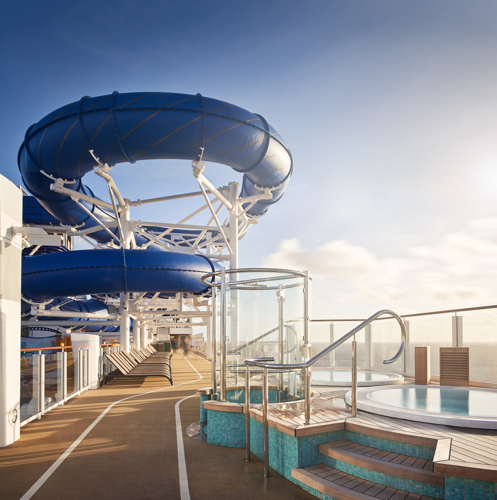 One of several shots I took of the ship's iconic waterslides. This was also a vertical panorama stitched with my 24mm tilt-shift lens. Even at the crack of dawn, the ship's deck was full of people, so I opted to drag the shutter a bit and let them provide some movement in the scene.