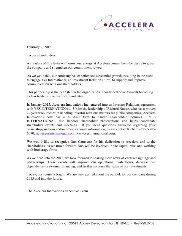 February 2015 - Shareholder Letter