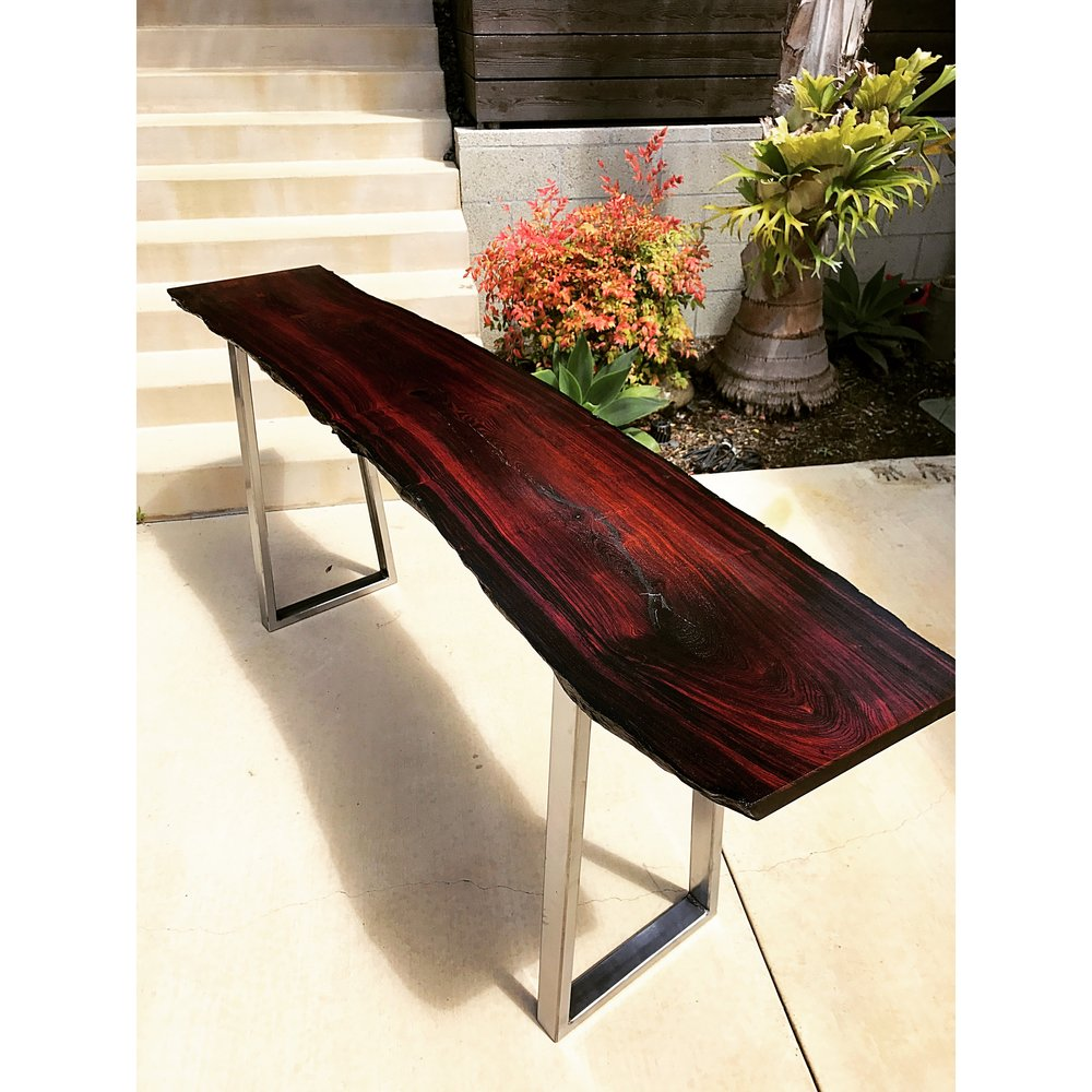 Figured American Black Walnut Slab Bench