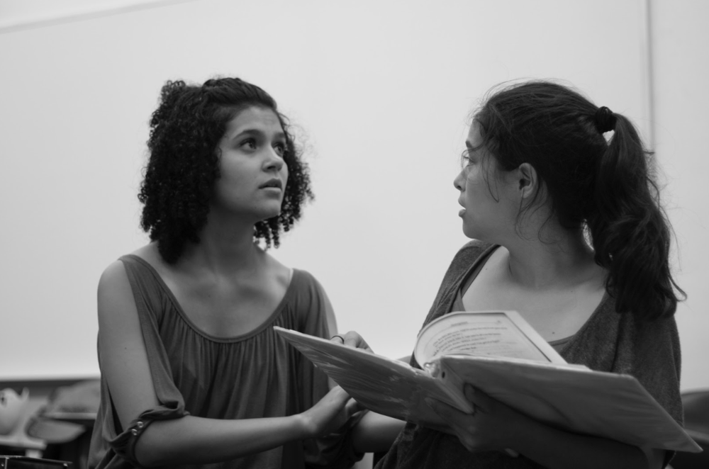 """Robyn Kimmel as """"Naja"""" and Shea Lee as """"Anon"""" in Purple Crayon Players Presents: Anon(ymous) by Naomi Iizuka.  """"What if you want to go home but there's no more home to go to?""""   Ellie Levine Photography"""