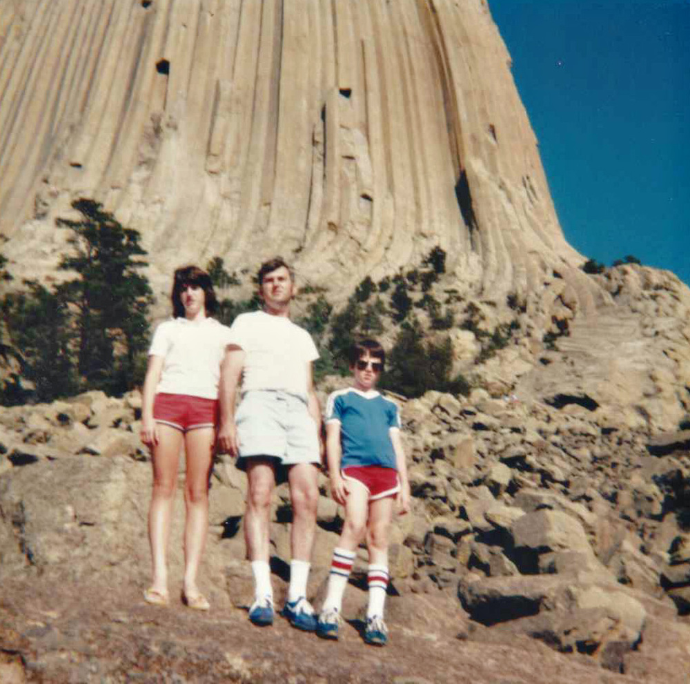 August of 1982, Devil's Tower National Monument.  Kodak Instamatic.  The awkward kid on the right went on to become the first person to dribble a basketball and fly a fighter jet at the same time.