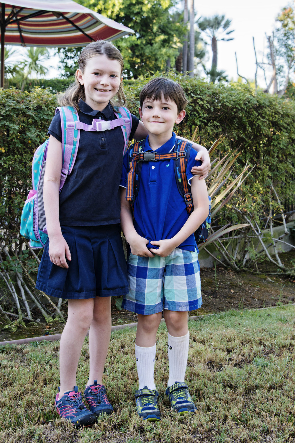 First day of fourth grade and kindergarten.  Nikon D800, 24-120mm lens @ 44mm, iso 500, f5.6, 1/125 sec.