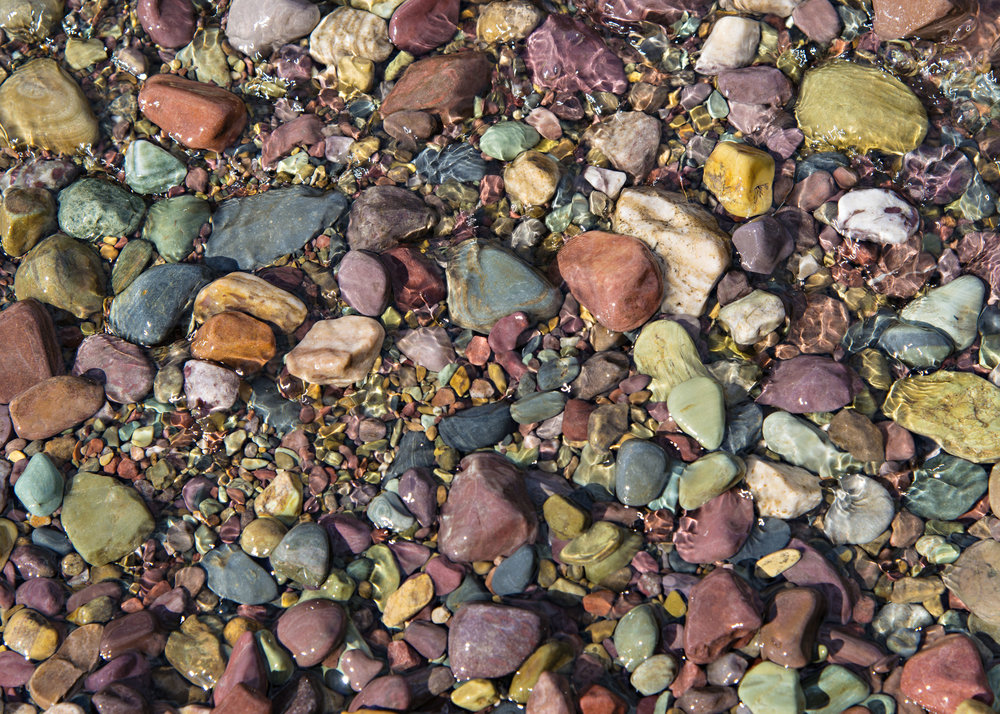 Stones along the shore of Lake McDonald, Glacier National Park.  Nikon D800, Nikkor 24-120mm lens @ 86m, ISO 100, f8, 1/160 sec.