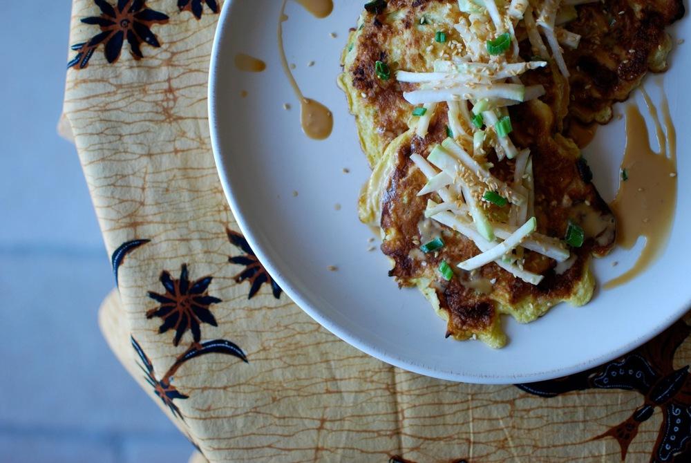 Kohlrabi Okonomiyaki + Slaw, Toasted Sesame Seeds, Soya-Mayo-Ginger Sauce