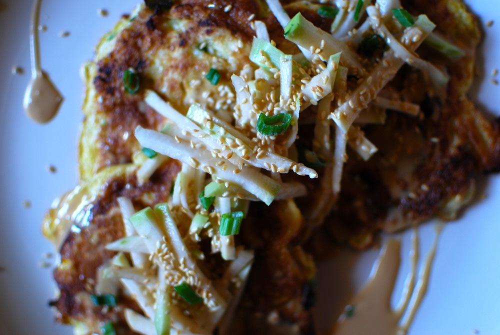 Kohlrabi 2 ways: Okonomiyaki + Slaw, with Soya-Mayo-Ginger Sauce