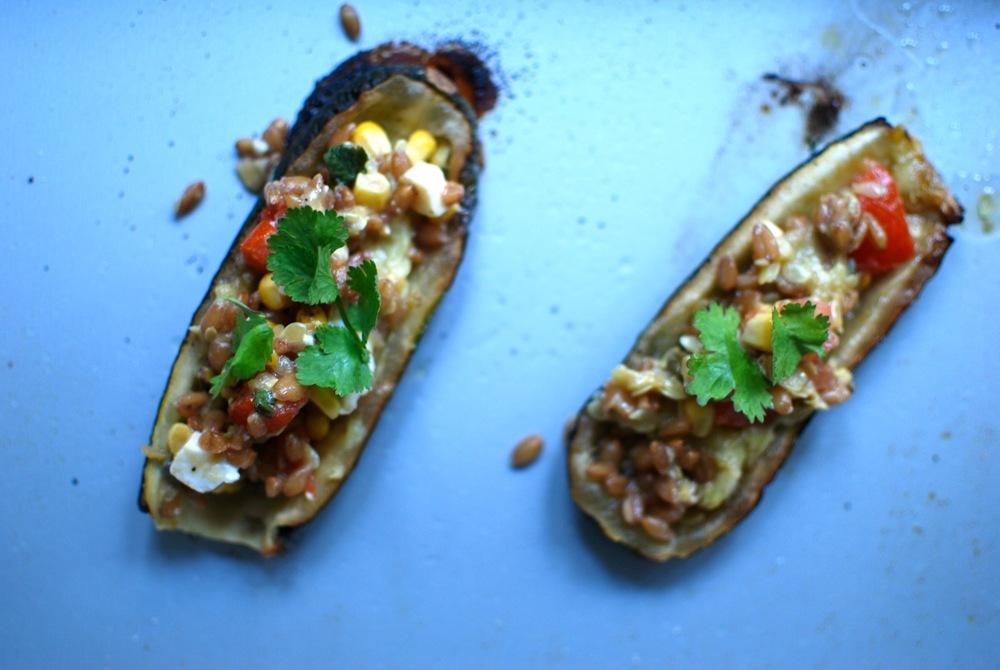 Courgette Spelt Salad Veggie Boats for 1