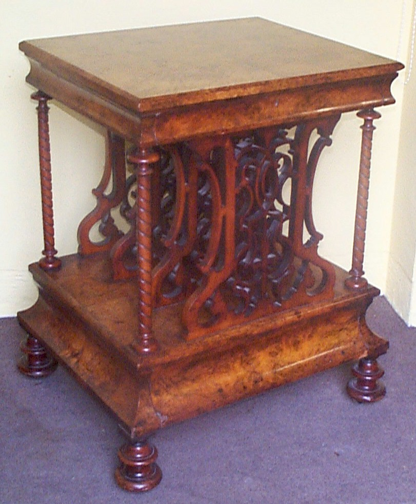 Victorian furniture table - Victorian Figured Walnut Canterbury With Writing Drawer To Frieze Base Drawer