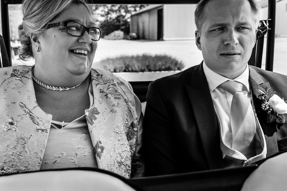 mother and groom in golfcart