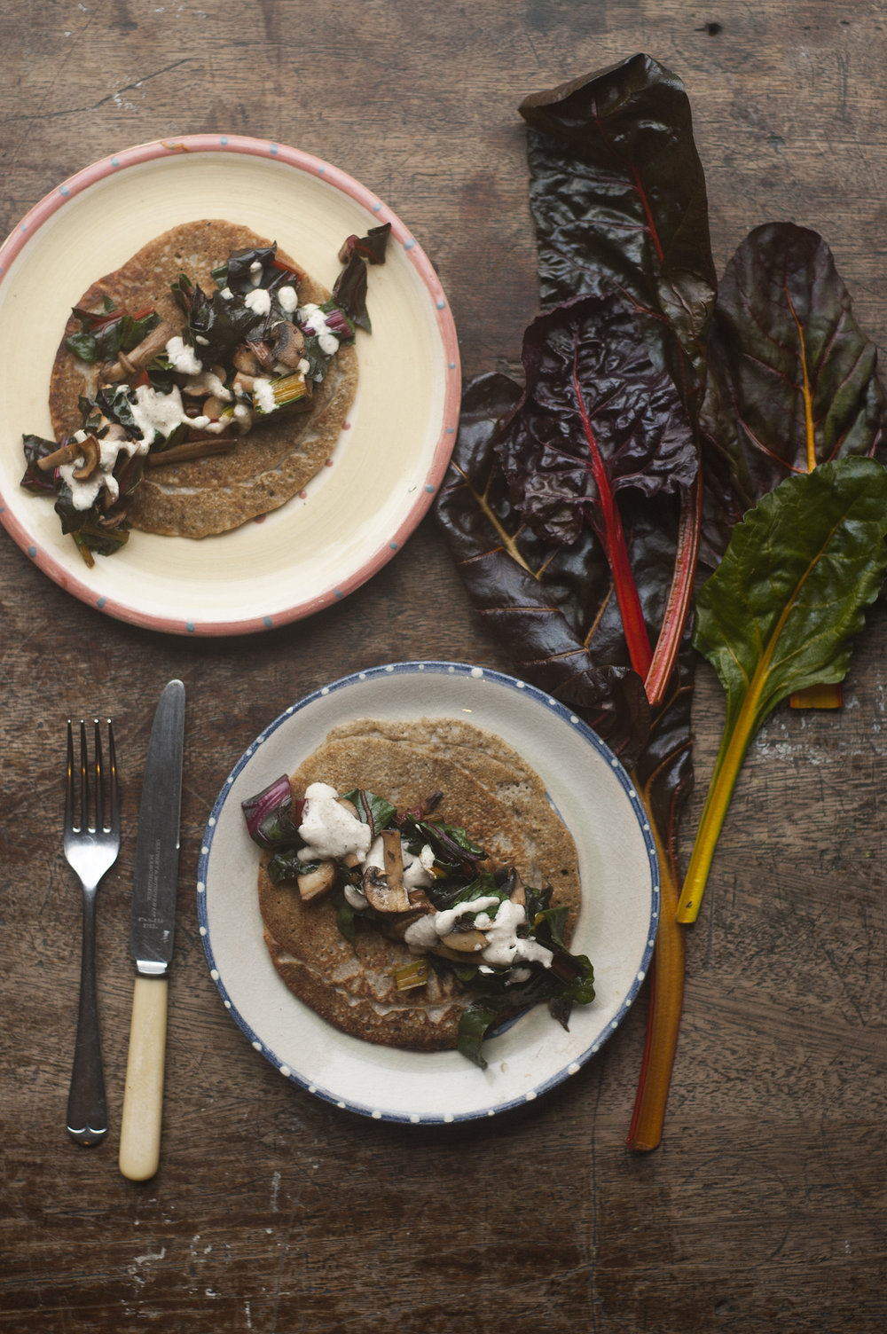Buckwheat crepes with mushroom and chard