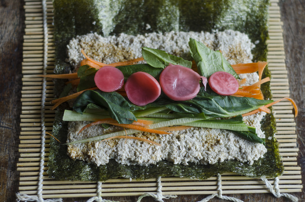 raw vegan sushi rolls with sunflower seed rice
