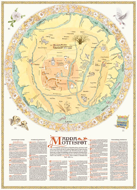 Mappa Mottisfont, 2014, A0 digital print, a contemporary  mappa mundi of Mottisfont Priory, estate and landholdings in the 1340s