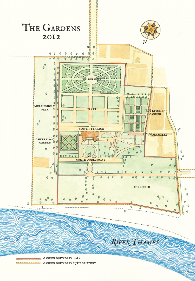 The Gardens at Ham House, 2012, pen & ink with watercolour, map indicating the garden boundary in the 17th century and present day