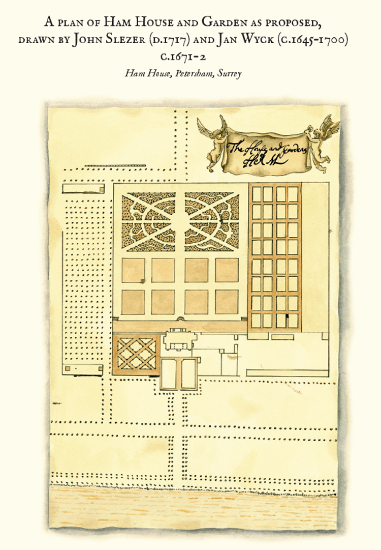 The Gardens at Ham House, 2012, pen & ink with watercolour, drawing of the Slezer Plan showing the designs for the redevelopment of the gardens, circa 1671-2