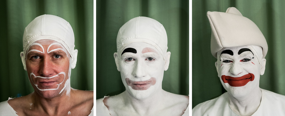Pierrot putting on his make-up at Tivoli, Denmark