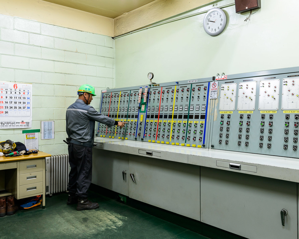 Steel blasting control room at DSME shipyard, South Korea