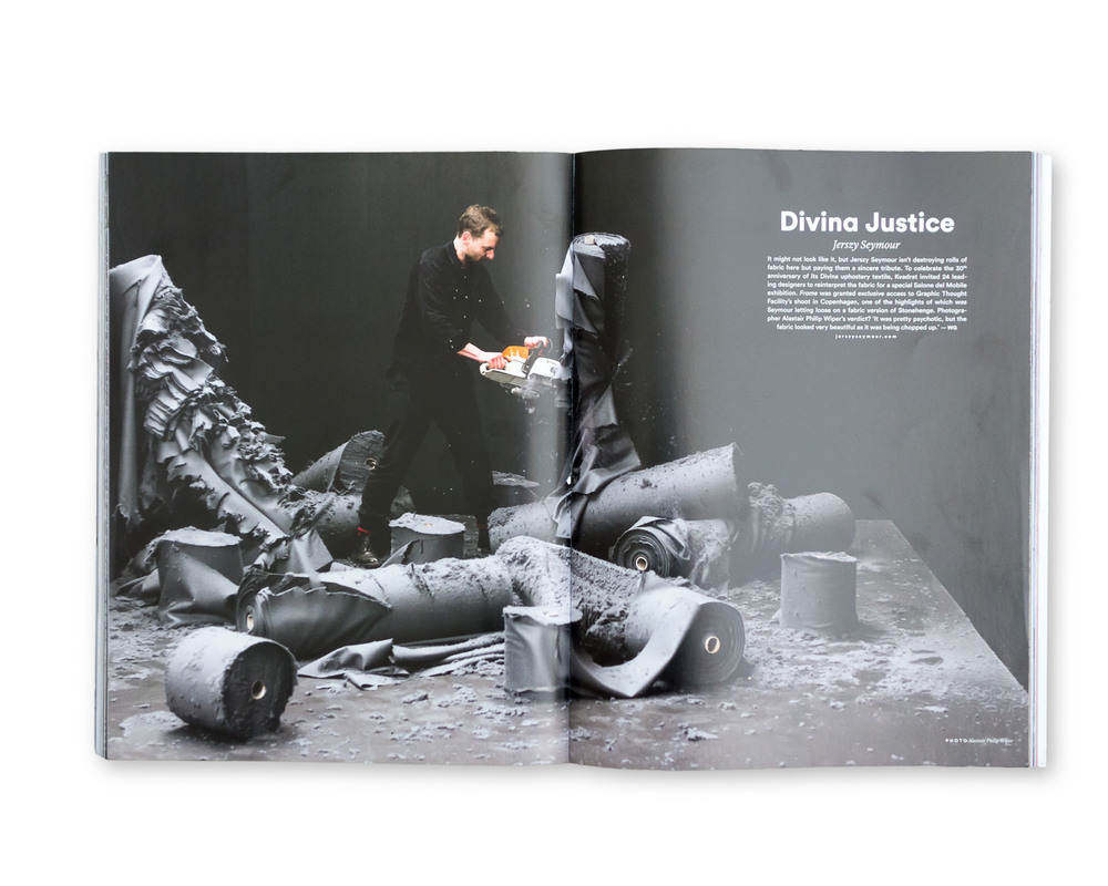 Frame Magazine, May 2014: Jerszy Seymour cutting up Divina fabric with a chainsaw