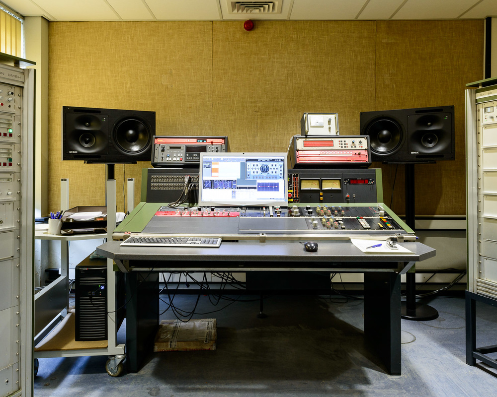 Mastering console in the cutting room