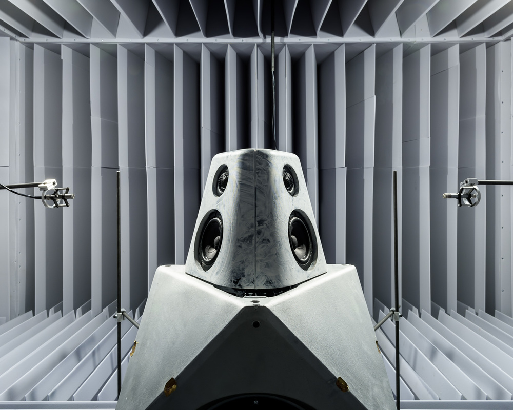 BeoLab 90 in anechoic test chamber at the facilities of Bang & Olufsen, Denmark