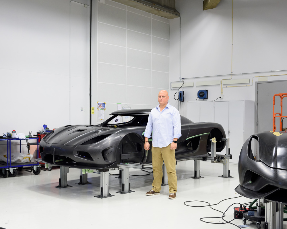 Christian von Koenigsegg, founder of the supercar brand Koenigsegg in his factory, Sweden.