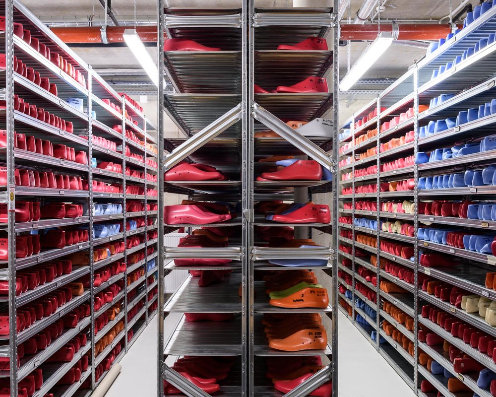 "Shoe lasts at the ""Development Kitchen"" at adidas' headquarters in Herzogenaurach, Germany"