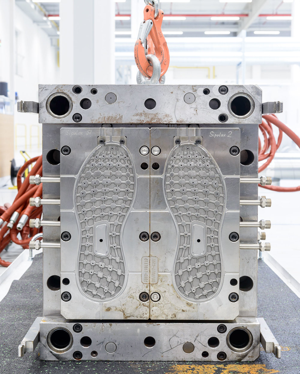 A metal mould for producing rubber outsoles at the adidas Speedfactory