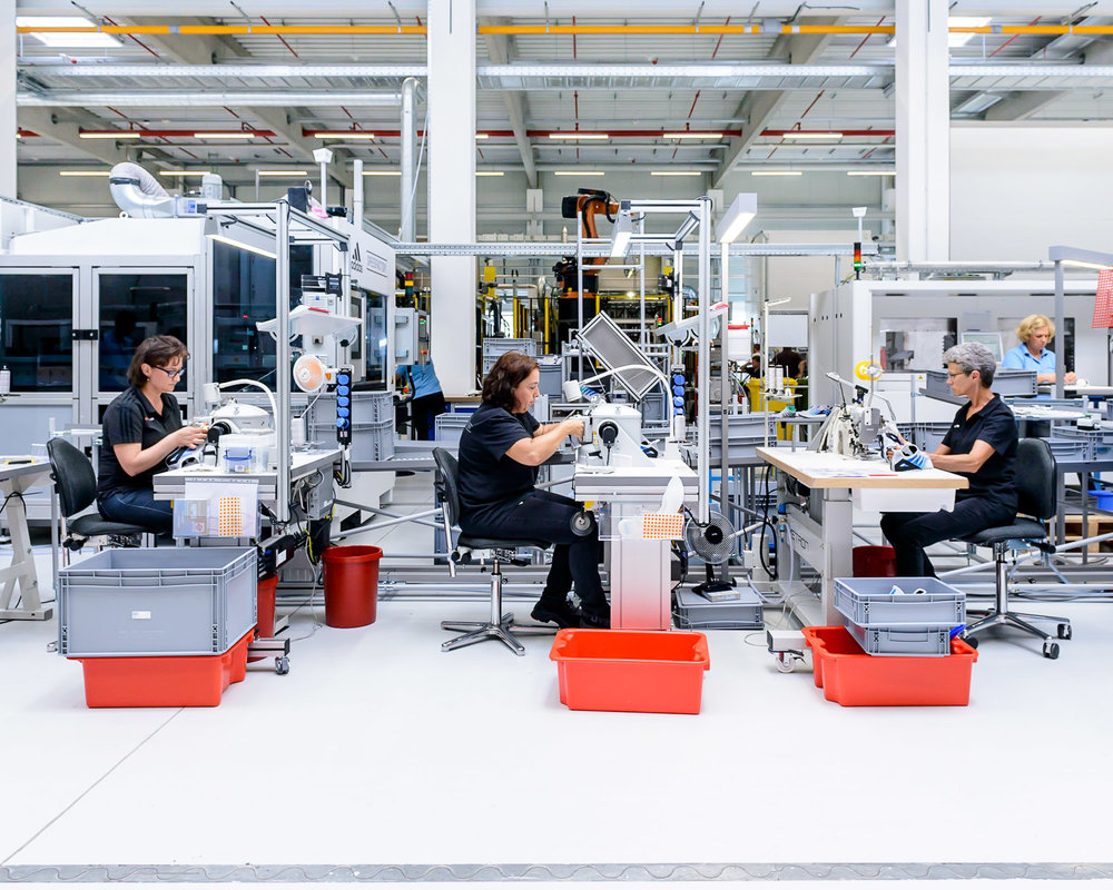 Workers at the Bavarian Speedfactory hand-stitch the Made for Londons' uppers