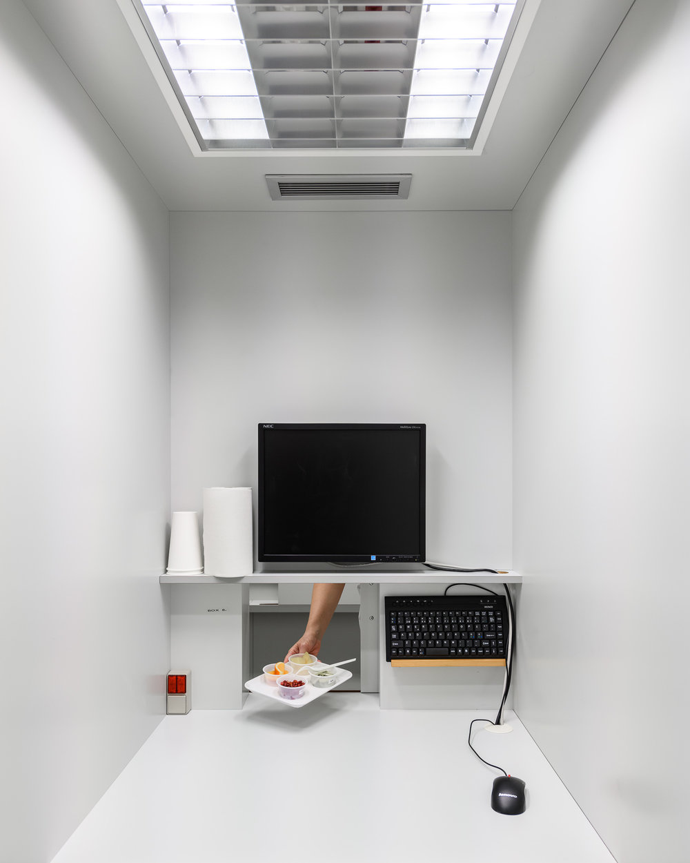 Inside a sensory test booth where trained test-panel members can evaluate the appearance, smell, taste and texture of foods and non-foods objectively