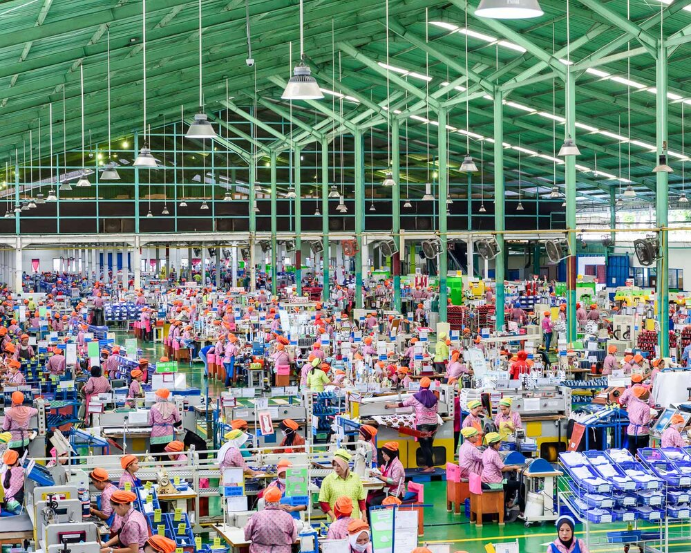 Factory floor at adidas' PWI shoe factory in Indonesia. Over 10,000 people work here producing 75,000 pairs of shoes per day