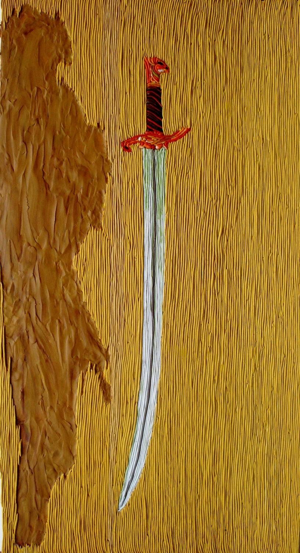 חרב ישרה, 2011,פלסטלינה על קרטון.jpg