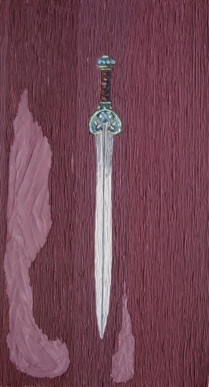 חרב מעוקלת,2011,פלסטלינה על קרטון.jpg
