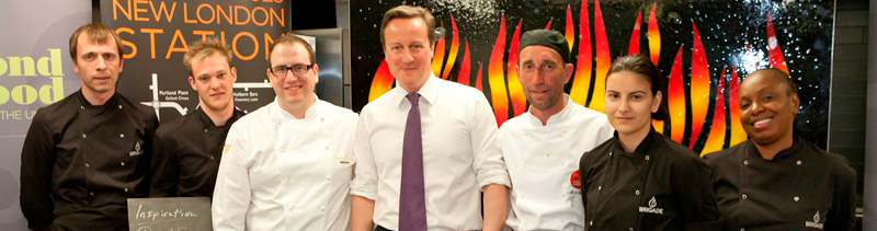Former Prime Minister David Cameron visited United Kitchen apprentices at Brigade.