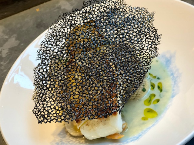 Skrei cod and cockles with squid ink, 64 Degrees, Brighton
