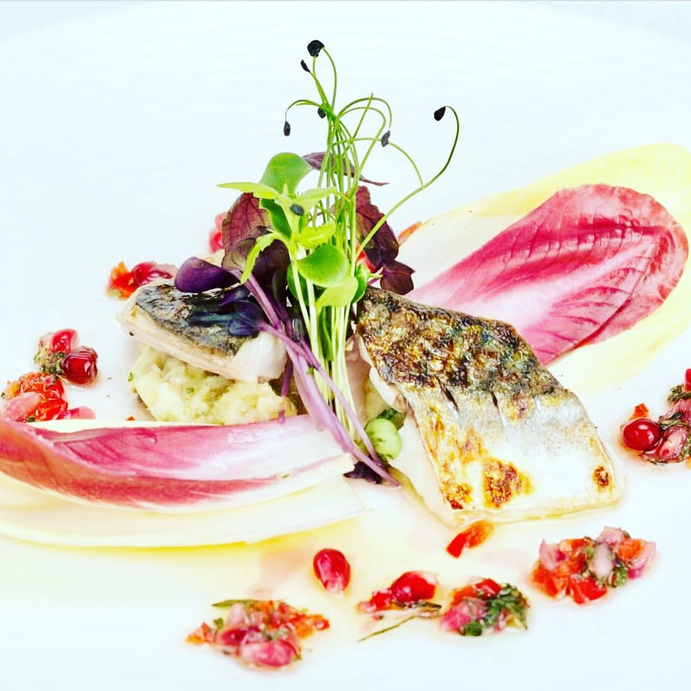 Crackling mackerel, with a pomegranate and Manuka honey dressing, along with poached potato and bay salad