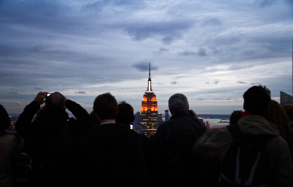 Top of the Rock, New York Empire State of Mind: I don't have many words for this one. It was a special moment and wanted to include the tourists overlooking the Empire State, a little past the sunset. It was cold and windy but well worth it.
