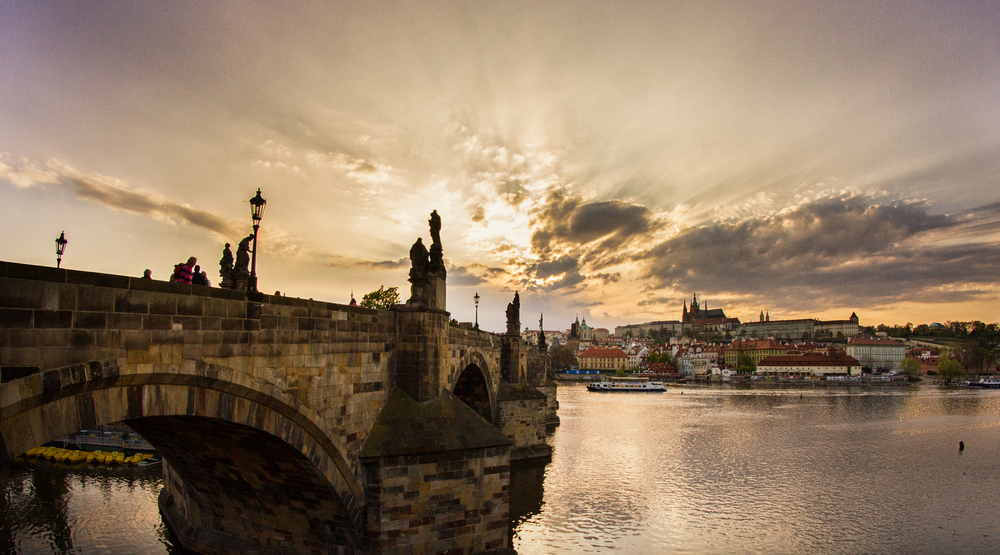 Charles Bridge 2, Prague Sometimes to get a nice picture you just have to move a little on the side, instead of where everyone is looking at. This wasn't the main place I wanted to take the picture from, but I wasn't able to get into the private building on the side. I did try though!