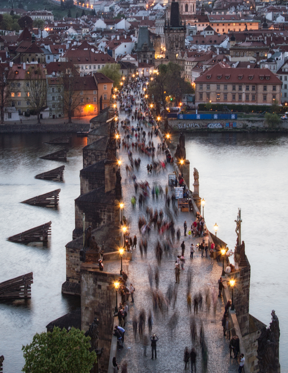 Charles Bridge 3, Prague This is the view of the tourist flow over the Old Town Bridge Tower. I had to wait more than half an hour to get this shot, and all thanks to a very sweet lady from the mid-section of the tower , who let me take pictures from the window.