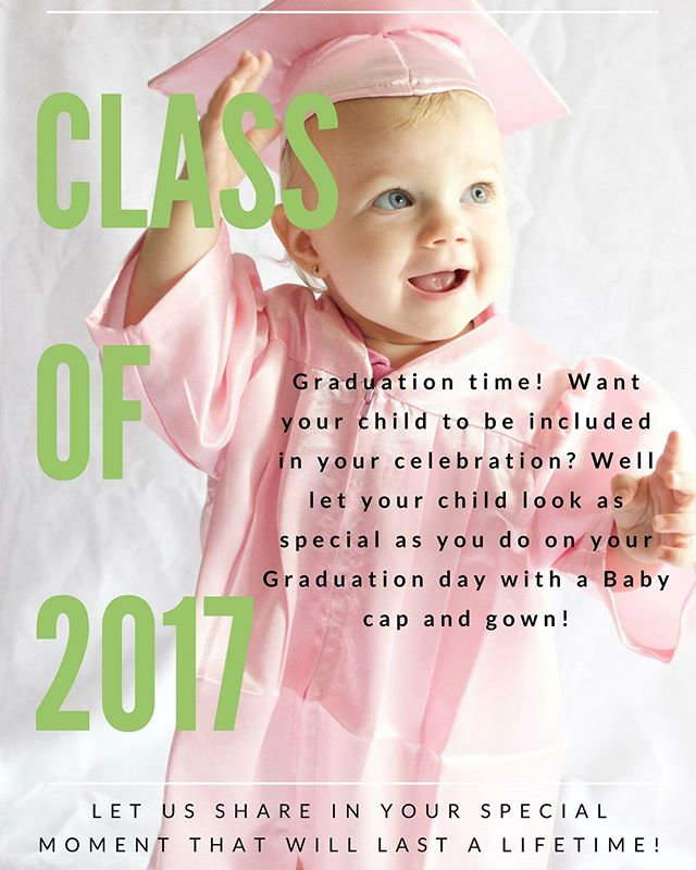 Graduation Time! Let us share in your moment that will last a lifetime! Let your child look as special as you do on your Graduation day with a Baby cap and gown! Link in my bio ❤🎓