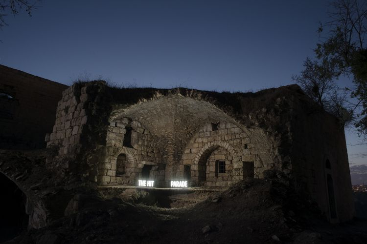 "THE HIT PARADE, Two on location light boxes, Li`a (former Palestinian village bombed and evacuated during 1948 War), 2014, digital c-print, 28.5"" x 40"" and 40"" x 60"" inches, from the series Facts On The Ground"