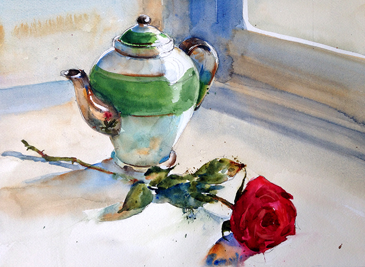 Still Life with Rose and Tea Pot