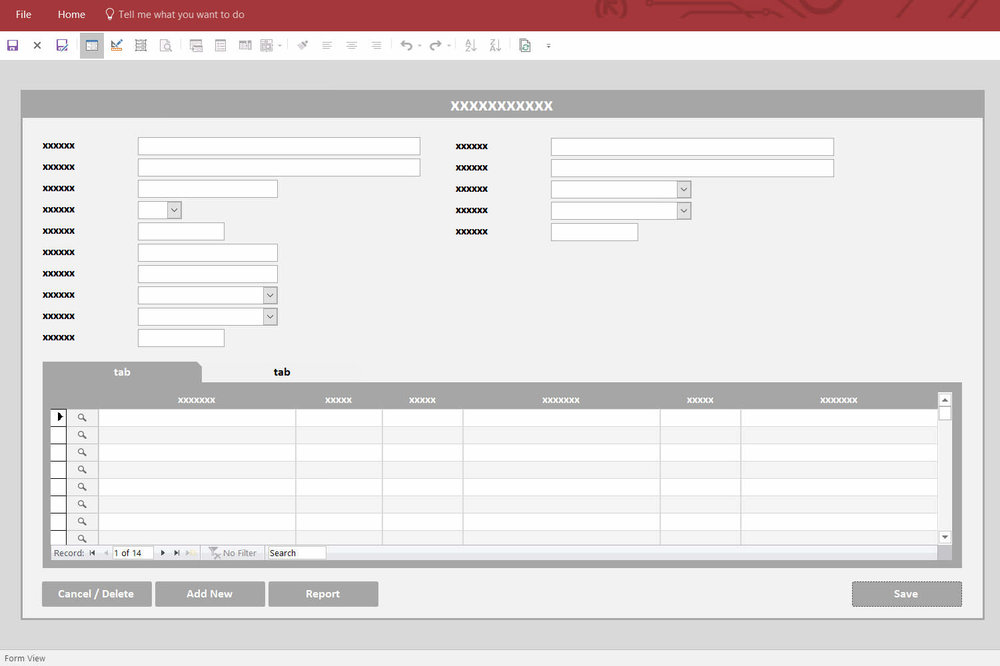 Screenshot of a Microsoft Access database form from a database prototype