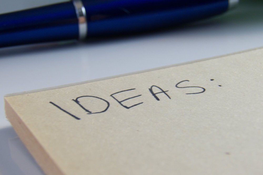 The word Ideas written on a note pad