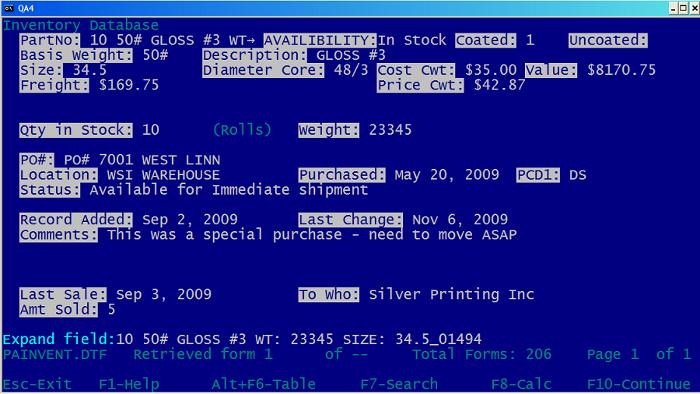 Q&A database screenshot
