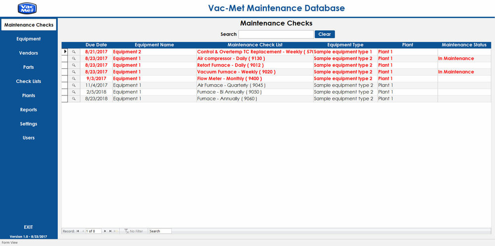 Screenshot of main dashboard of Microsoft Access database for maintenance checks