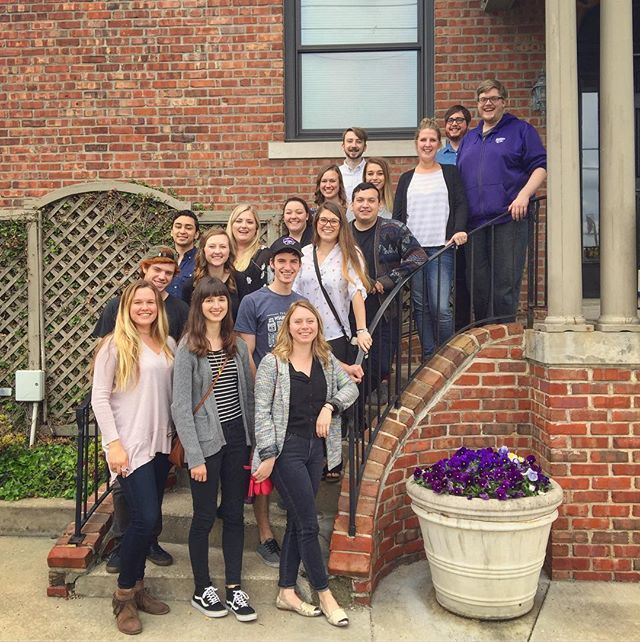 K-State AIGA had a blast on KC studio tours! We were able to stop for a photo op in front of Willoughby's beautiful building. Thank you to @willobuzz @hallmark and @degdigital for bringing us in and sharing your insights. #kstateaiga