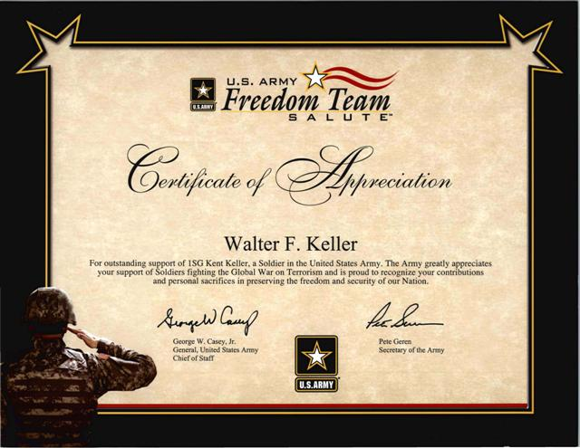 Military Jobbers Moving Storage – Army Certificate of Appreciation