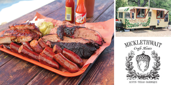Serving Central Texas style barbecue in East Austin since December 2012, Micklethwait Craft Meats has quickly become one of most recognized and talked about joints in Texas. Serving house-made specialties (that includes hand-made sausa  ge, brisket and sliced pork shoulder) out of a vintage trailer, Micklethwait also serves up house-made bread, pickles, and unique desserts and sides such as homemade moon pies and jalapeño cheese grits. Micklethwait won the Austin Chronicle's Beef Rib Smackdown in January 2014 and has been featured on The Jimmy Kimmel Show, The Cooking Channel's Eat Street, The Discovery Channel's Barbecue Paradise, The Wall Street Journal, Esquire, Texas Monthly, and more!