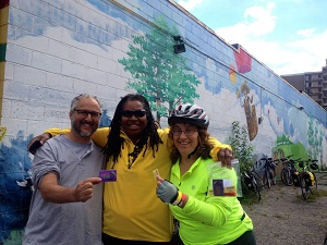 Michael Appel, Measie James and Ruth at a Bike Ypsi event.